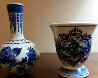 Vintage Miniature Holland Blue Delft Hand Painted Vases ~ Set of 2