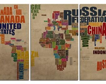 "World Map,Typography, set of 3 new panels 38""x20"""