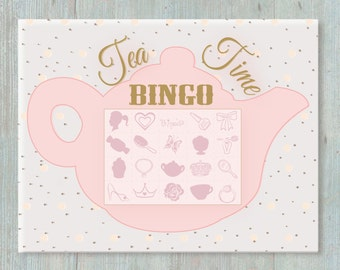 Tea Party Bingo Game - Up to 40 Different Cards - Birthday Activity - Tea Party Birthday - Tea Party Baby Shower - Tea Party Play Date