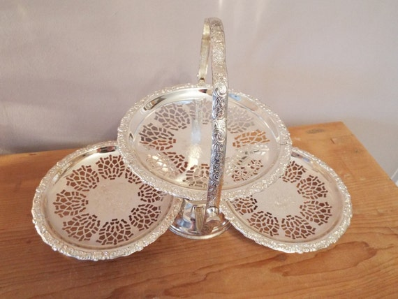 Queen Anne Silver Plated  Tier Cake Stand