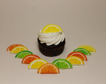 Fondant Citrus Fruit Slices Cupcake Toppers, 12 pack