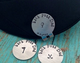 kick putt Dad Golf Ball Marker and Hat Clip Personalized Magnetic Golf Ball Marker