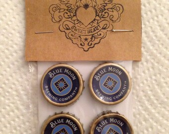 Beer Bottle Cap Magnets - Blue Moon Beer Bottle Caps // Upcycled Recycled Repurposed