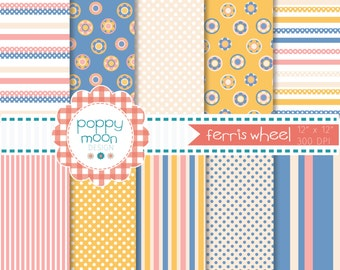 Ferris wheel blue yellow pink and cream printable digital paper pack