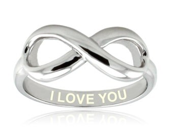Sterling Silver I Love You Engraved Infinity Ring