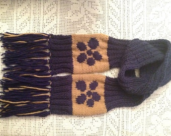 Knitted Long Navy Blue Flower and Brown Scarf, Woman long Scarf, Neck Warmer, Neck Wrap