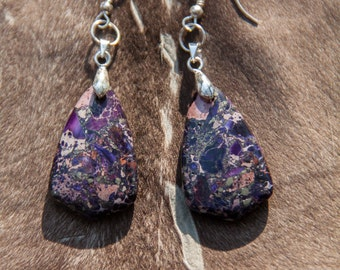 Purple Sea Sediment Jasper Pyrite Earrings