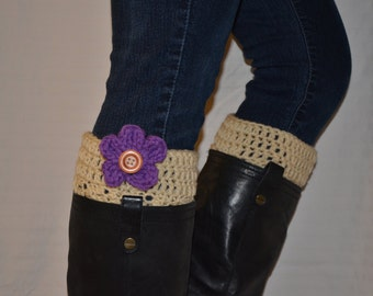 CLEARANCE!! ** Cream Crochet Boot Cuff with Interchangeable Flower