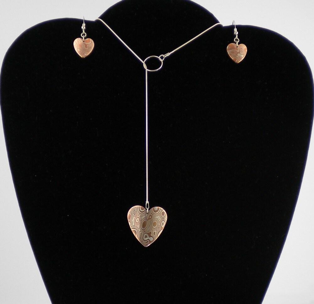 Mokume Gane Earrings: MOKUME GANE HEART Earrings And Pendant On Sterling Snake