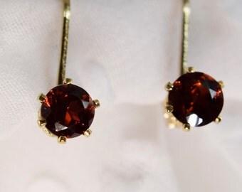 Gold Filled 4mm Garnet Earrings