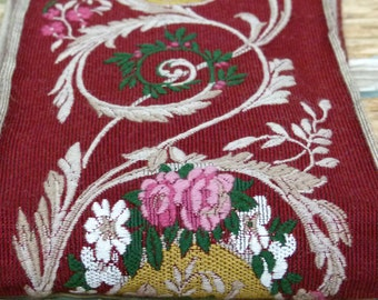 Incredible Antique Ribbon tapestry trim chateau chic, burgundy, forest green, mustard & pink w/ rose motif, craft, couture, supplies