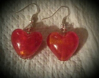 Handmade Large Glass Heart Bead Earrings