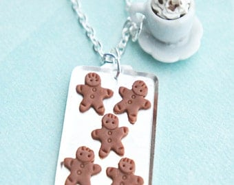 gingerbread cookies and coffee necklace-  miniature food jewelry, christmas food necklace, cookie necklace, coffee necklace