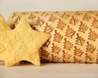 SPRING SALE - Christmas tree - Embossing rolling pin, Cookies decorating roller, Laser engraved rolling pin