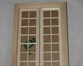 Miniature dollhouse 1:12 scale double french door unfinished building supply