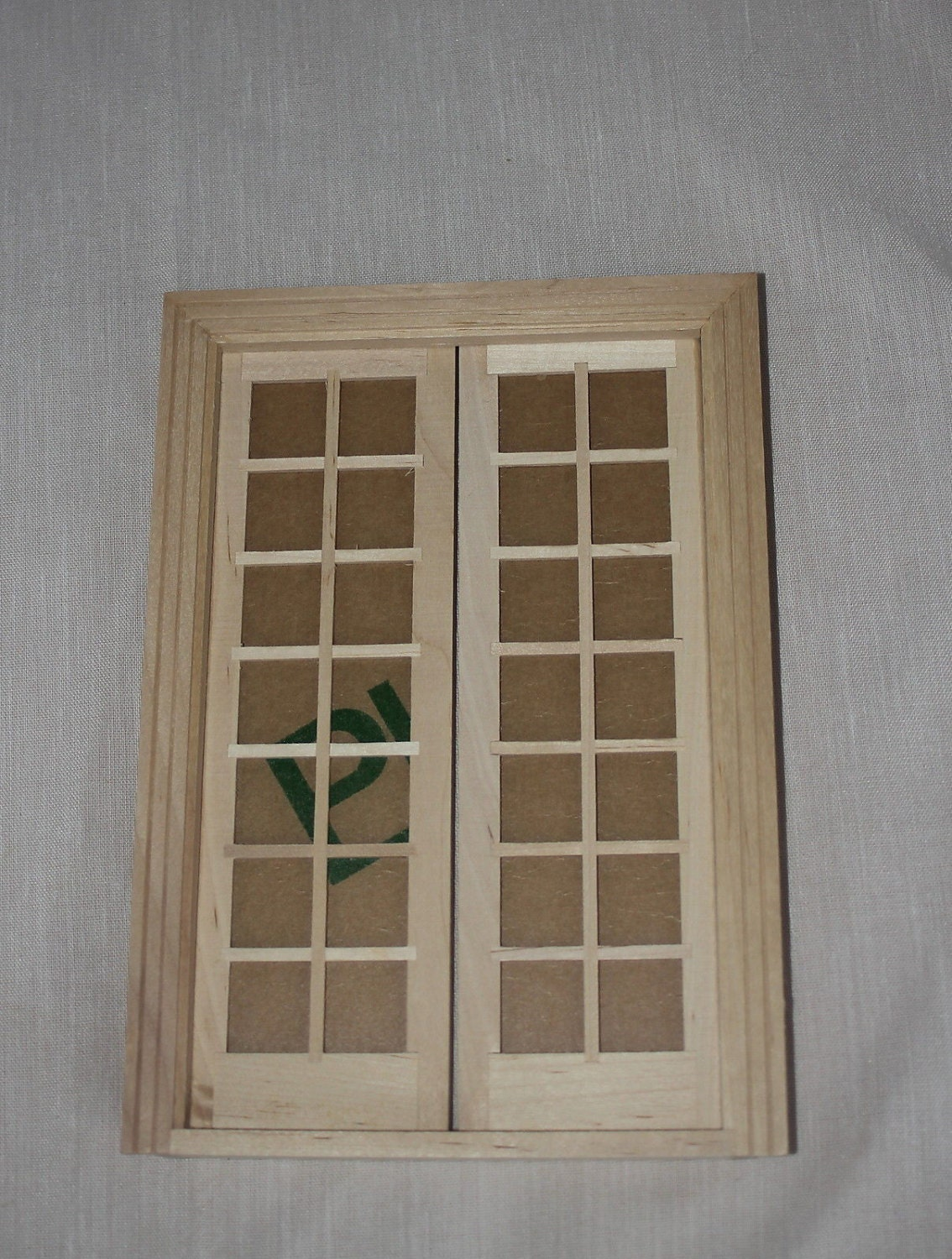 Miniature dollhouse 1 12 scale double french door unfinished for 12 french door