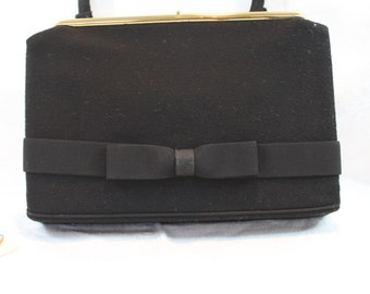 "Vintage L and M ""A Spotlight Exclusive"" Wool Little Black Purse with Bow"