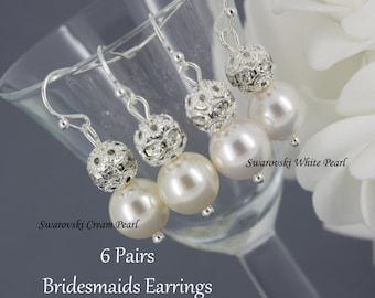 6 Pairs Bridesmaid Earrings, 6 Pairs Pearl and Rhinestone Earrings, Bridesmaid Pearl Earrings, Swarovski Pearl and Rhinestones Earrings