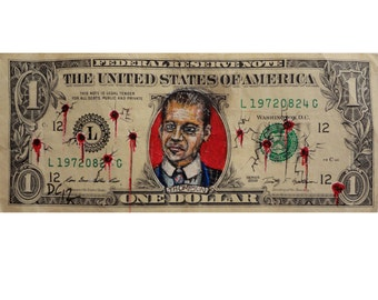 Nucky Thompson from Boardwalk Empire painted on a dollar.