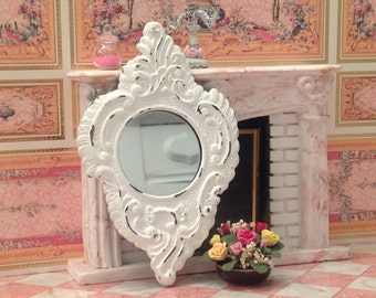 Distressed Large White Mirror