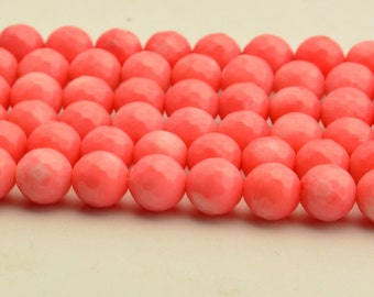 "15.5""  Faceted Pink Coral Beads Gemstone Round Beads 8mm"