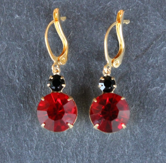 e83e4487c Red Ruby Earrings Swarovski Crystal Vintage Drop Earrings Siam Ruby and Jet  Black round stones