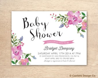 Baby Pink Floral Watercolour Custom Baby Shower Invitation - DIY printing