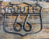 nostalgic ROUTE 66 sign, man cave, gift for him, motorcycle man, welded metal.