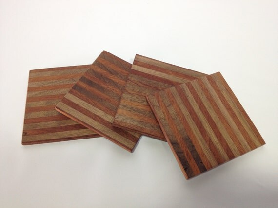 Handmade solid wood coaster set 4 coasters per by for Handmade drink coasters
