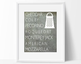 Cheese Art Print - Kitchen Art - Wall Art - Kitchen Decor