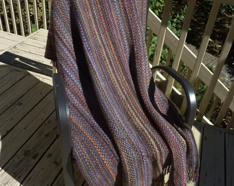 Hand knit afghan - purples, blues, golds & greens