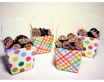 6 Homemade Belgian Chocolate NonPareil Mini Easter Baskets 1/4lb