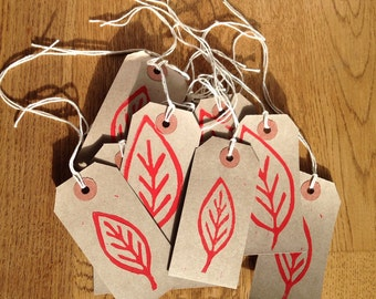 Leaf pattern hand printed gift tags