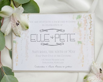 Romantic Floral Backyard Wedding Invitations