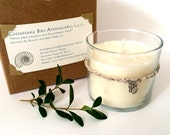 Eco-Friendly Gift: Natural Basil Candle, Hand-Poured, Soy, Essential Oil Scents, Upcycled Glass, Hemp Bracelet