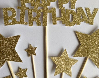 Gold Happy Birthday Cake Toppers, Gold Glitter Birthday & Star Cake Toppers, Birthday Cake Toppers, Assortment Pack