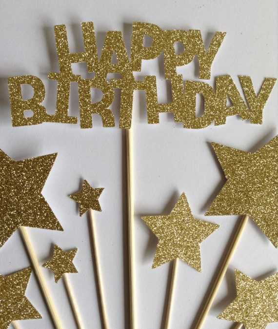 Gold Happy Birthday Cake Toppers Gold Glitter Birthday Star