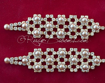 Bridal Pearl Earrings. Gold Earrings Wedding Jewelry Accessory. Pearl Jewelry Accessory, Prom Bridesmaids Earrings - Ruby Blooms Jewelry