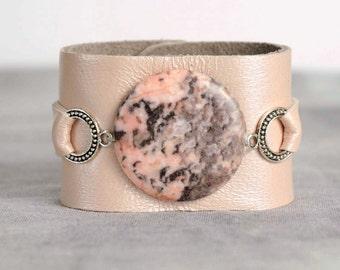 Handmade Leather Cuff with Genuine Pink Jasper, Pastel Pink  Vintage Aged Leather, Leather Cuff, Leather Bracelet, Snap Closure, Pastel Pink