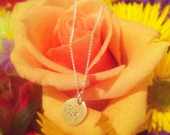 Hand stamped custom Tiny Initial circle necklace