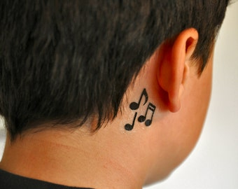 Music Notes Temporary Tattoo, Music Temporary Tattoo, Music Gift Idea,Ear Temporary Tattoo, Musical Tattoo, Indie Tattoo, Discreet Tattoo