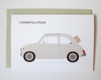 Congratulations - classic Fiat 500 illustrated greeting card