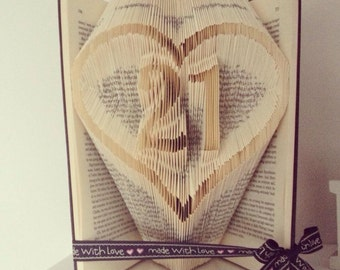 Book folding pattern for 21 in a heart ~ Coming of age ~ Birthday