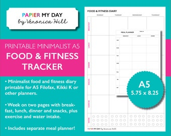 A5 Filofax Food and Fitness Planner Inserts - Printable Meal Planner - Food Diary