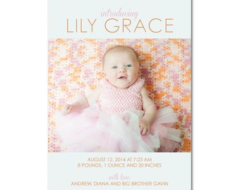 Birth/Baby 5x7 Announcement with Photo - Introducing - Printable and Personalized