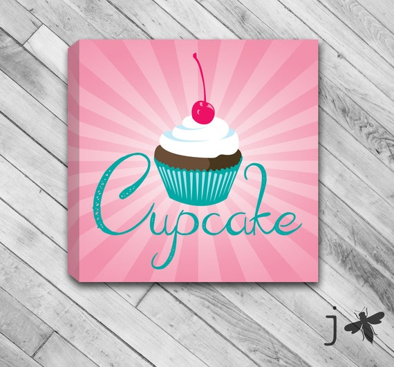 Cupcake Wrapped Canvas Wall Art Chocolate or Vanilla