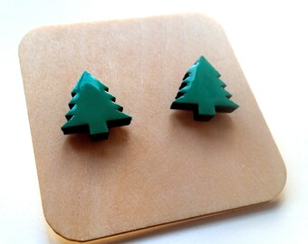 Christmas tree baltic birch stud earrings