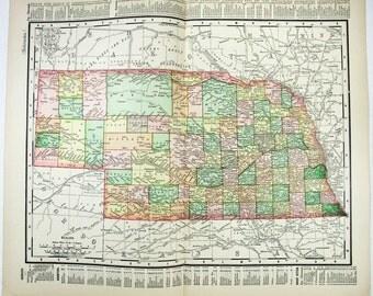 Vintage Original 1895 Map of Nebrasha by Rand McNally