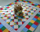 """Baby Quilt, Toddler Quilt, Lap Quilt, Handmade Patchwork """"Corner Store"""" in Primary Colors, 40"""" x 49"""""""