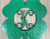 Unfinished Wood Shamrock Monogram Door Hanger Laser Cutout w/ Your Initial, Home Decor, Various Sizes, Script, Clover, St. Patrick's Day